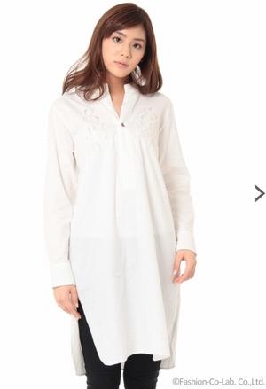 家族ノカタチ1話、上野樹里(熊谷葉菜子)白色リボンワンピースシャツ衣装