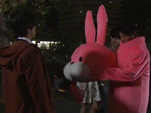 お迎えデス。1話ピンク色(桃色)の可愛いウサギの着ぐるみ(ぬいぐるみ)ナベシマ。頭の部分が、すぽっと抜ける