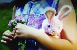お迎えデス第9話最終回ナベシマ(鈴木亮平)の妹の腕にはピンクのウサギのぬいぐるみ。ナベシマの着ぐるみに似ている3