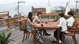 月9好きな人がいること-櫻井美咲は、柴崎千秋と高月楓(菜々緒)、柴崎夏向とレストランのテラスにて結婚式の話をする