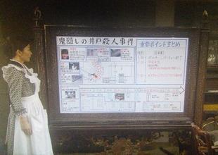 ドラマ貴族探偵で事件の整理が得意なメイドの田中役の中山美穂。ホワイトボードに事件の真相をまとめる。時系列・相関図1